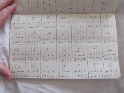 A picture from Arabic practice book that I started back in August