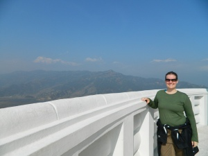 Yep - that's right, those aren't clouds in the background, those are the snow capped peaks of the Himalayas