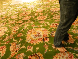 Austin standing on the largest carpet in the world