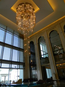 The gorgeous lobby with this magnificent chandelier.