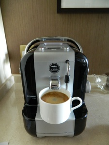 While waiting for the pancakes we decided to try out our in-room espresso machine!