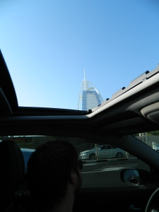 Driving to the Bastakiya in our new car! Oh and yes that is the Burj Al Arab you can see through the sun roof! I just love Dubai : )
