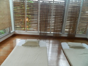 Our lavender scented, tree top massage room